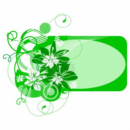 Illustration for Green banner with flowers. Vector illustration - Royalty Free Image