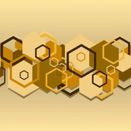 Seamless a background with hexagons in orange colour