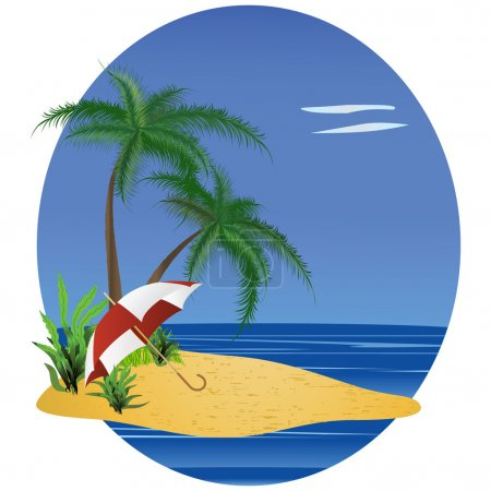 The image of a beach with an umbrella and a palm tree