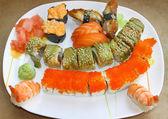 Japanese sushi set on a white plate