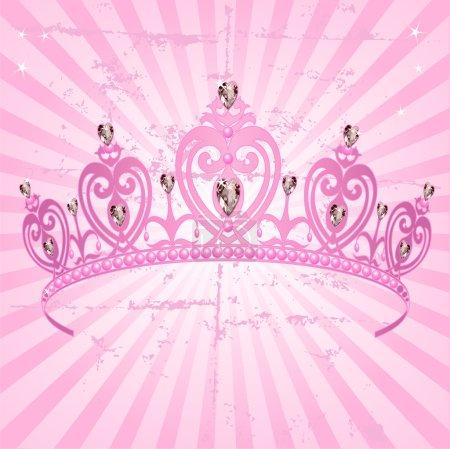 Photo for Beautiful shining true princess crown on radial grange background - Royalty Free Image