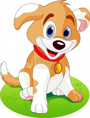 Illustration pour Illustration d'un chiot mignon, portant un collier rouge avec une étiquette de chien . - image libre de droit