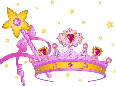 Photo for Beautiful crown and magic wand for true princess - Royalty Free Image