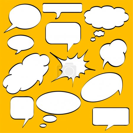 Illustration for Comics style speech bubbles / balloons on yellow background - Royalty Free Image