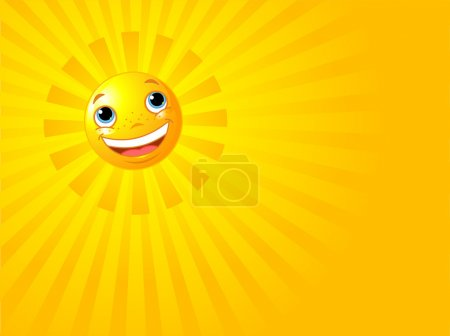 Illustration for A background illustration featuring a happy smiling sun with rays of light beaming - Royalty Free Image