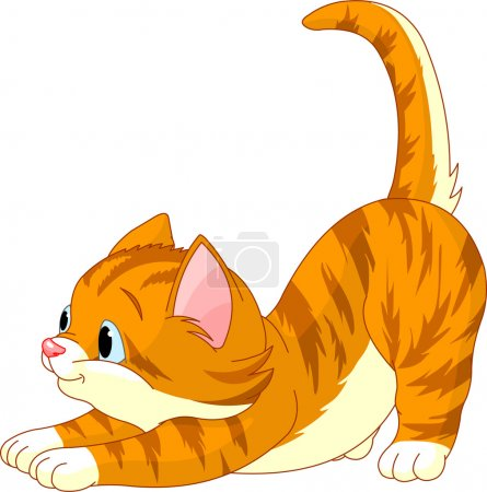 Illustration pour Chat mignon cheveux roux qui s'étend sur fond blanc - image libre de droit