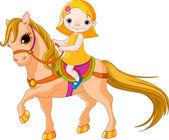Cute little Girl riding on a horse