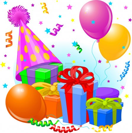 Photo for Birthday gifts and decoration ready for birthday party - Royalty Free Image
