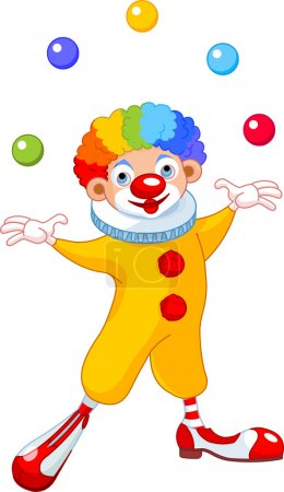 Illustration for Illustration of Cute funny juggling clown - Royalty Free Image