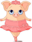 Illustration of very cute piggy ballerina