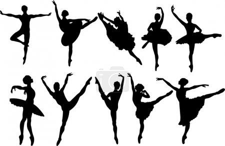 Set of ballet dancers silhouettes. Vector illustra...