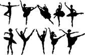 Set of ballet dancers silhouettes Vector illustration