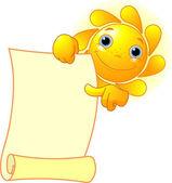 Sun shows a scroll