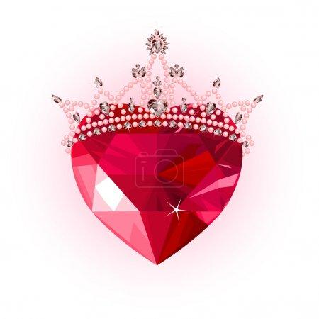 Illustration pour Coeur d'amour en cristal brillant avec design de couronne de princesse - image libre de droit
