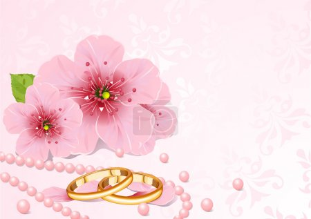 Illustration for Wedding rings and pink cherry blossom design - Royalty Free Image