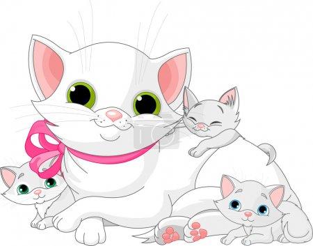 Illustration pour Illustration de la famille des chats blancs - mère avec chatons - image libre de droit