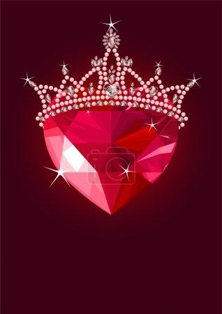 Illustration pour Coeur d'amour en cristal brillant avec couronne de princesse sur fond sombre - image libre de droit