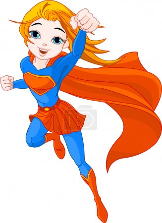 Illustration for Illustration of Super Hero Girl in the fly - Royalty Free Image