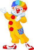 Illustration of funny clown presenting (showing)