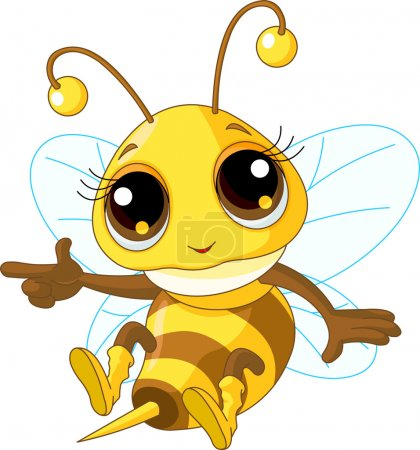 Illustration for Illustration of a Friendly Cute Bee Showing And Flying - Royalty Free Image