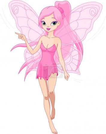 Illustration pour Illustration d'une jolie fée rose pointant (montrant, présentant ) - image libre de droit
