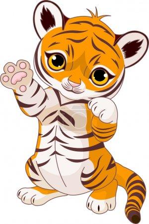 Illustration pour Illustration de mignon petit tigre ludique agitant bonjour - image libre de droit