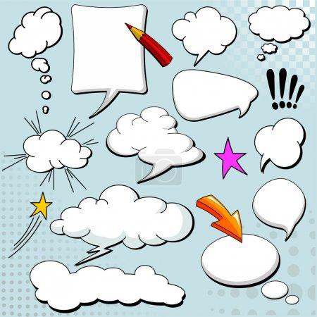 Illustration pour Discours de style BD bulles / ballons sur fond jaune - image libre de droit