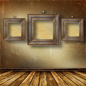 Old room, grunge interior with frames