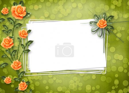 Photo for Grunge paper for congratulation with painting rose - Royalty Free Image