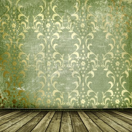 Foto de Oro viejo enmarca estilo victoriano en la pared en la sala de - Imagen libre de derechos