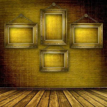 Old room, grunge interior with frames