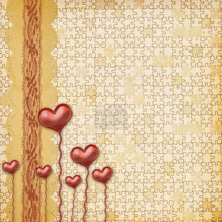 Card for congratulation or invitation with hearts