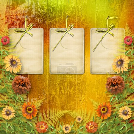 Multicoloured card for greetings or invitations with bunch of fl