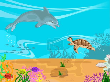 Vector illustration of the seabed and it