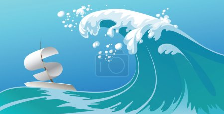 Illustration for Big wave catches the boat to sail a dollar sign - Royalty Free Image