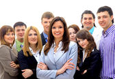 Smiley businesswoman with a group