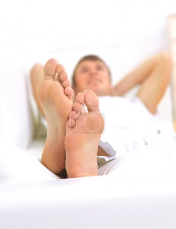 Photo for Modern lifestyle - macro of man's feet, man resting - Royalty Free Image