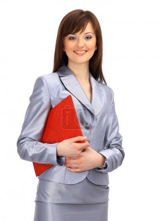 femme d'affaires positif souriant sur fond blanc