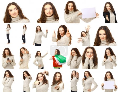 Collection portraits of a charming female posing over white background