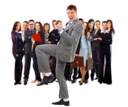 Homme d'affaires et son équipe isolés sur un fond blanc
