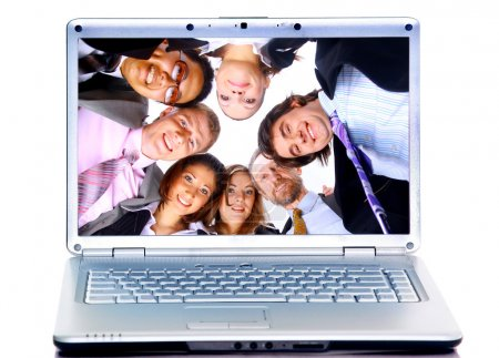 Business-team in display laptops