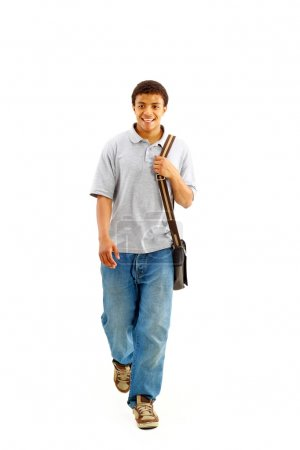 Happy Casual Dressed Young Black College Student Isolated on White Backgrou