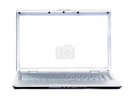 Laptop with blank white screen isolated on white a background