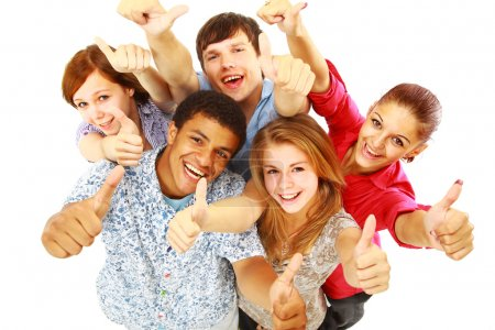 Group of happy joyful friends standing with hands up isolated on white back
