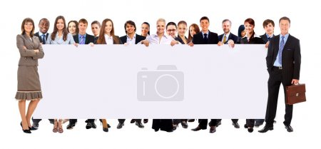 Large group of young smiling business . Over white background