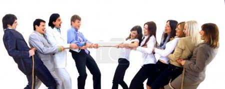 Photo pour Compétition d'entrepriseséquipes luttant pour gagner - image libre de droit