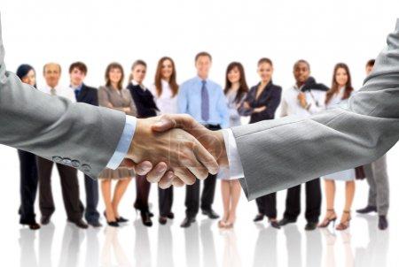 Photo for Handshake isolated on business background - Royalty Free Image
