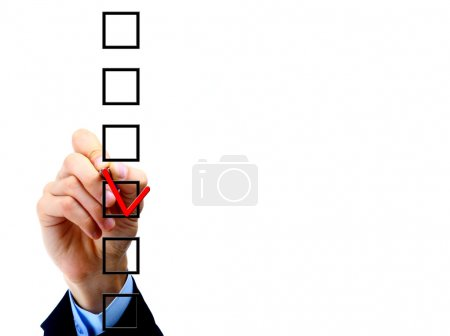 Photo for Hand choosing one of three options - Royalty Free Image