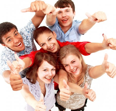 Photo for Top view of young friends with hands raised - Royalty Free Image