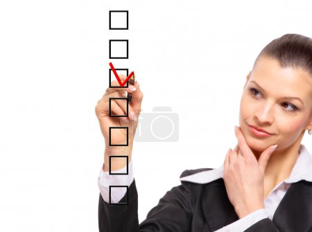 Photo for Woman choosing one of three options - Royalty Free Image